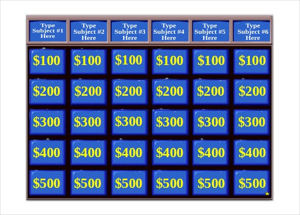 9 jeopardy game templates free sample example format for Kids jeopardy template
