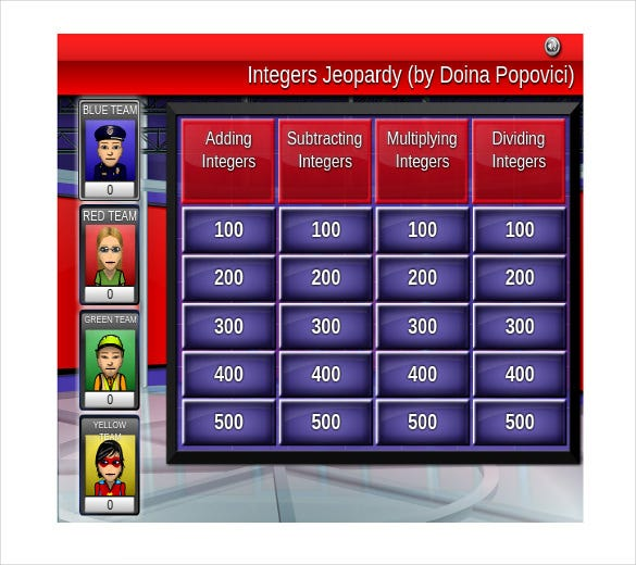 Jeopardy game template 10 free ppt pptx documents for Jeopardy template with sound effects