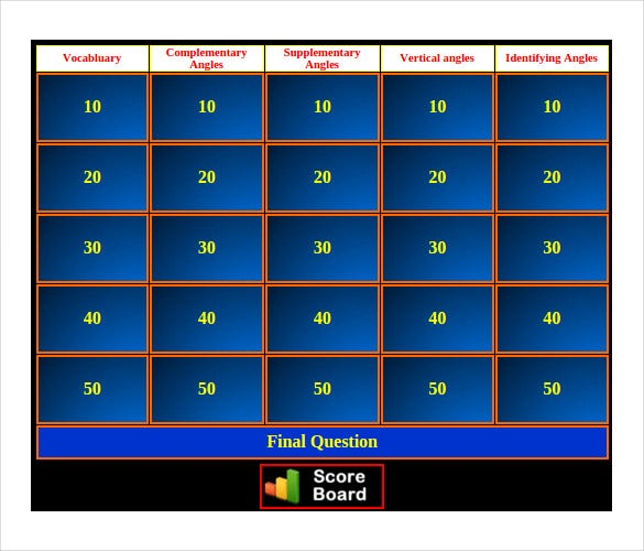 jeopardy powerpoint template with scoreboard - jeopardy powerpoint templates free download images