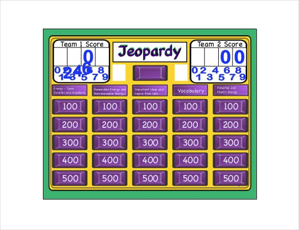 Free Jeopardy Template   Free Word Pdf Ppt Documents