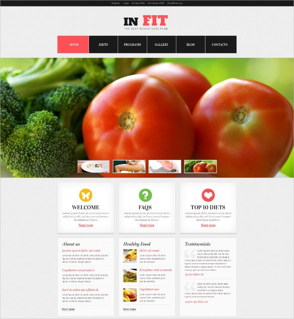 diet fit wordpress theme