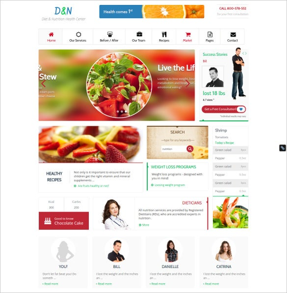minimalistic diet nutrition wordpress theme