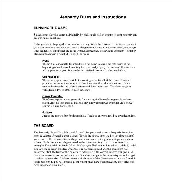 classroom jeopardy rules and instructions