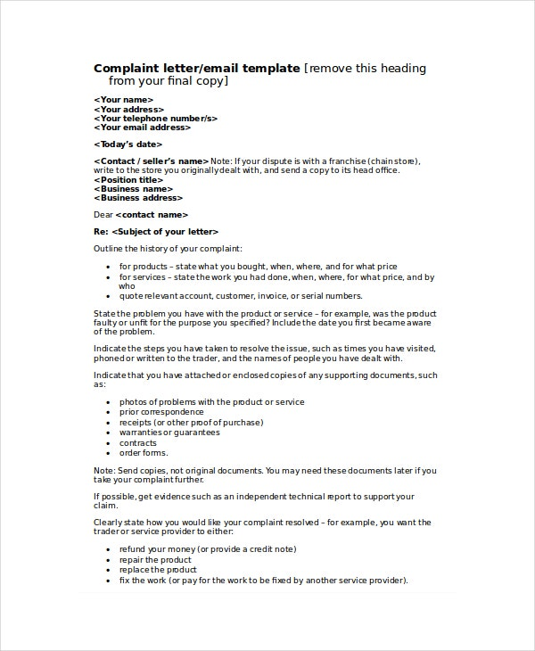 formal letter of complaint to employer template - complaint letter template 8 free word pdf documents