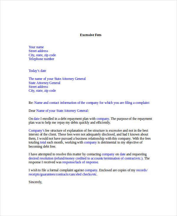 Complaint Letter Template 9 Free Word PDF Documents Download – Professional Complaint Letter