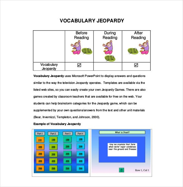 Jeopardy Template For Teachers   Free Sample Example Format