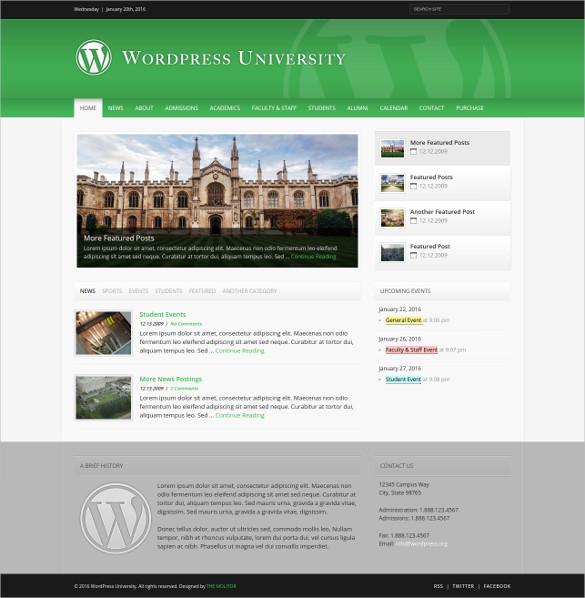 simple university wordpress theme
