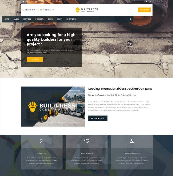 builtpress building construction wordpress theme