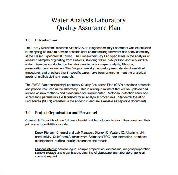 laboratory quality assurance plan pdf template free download