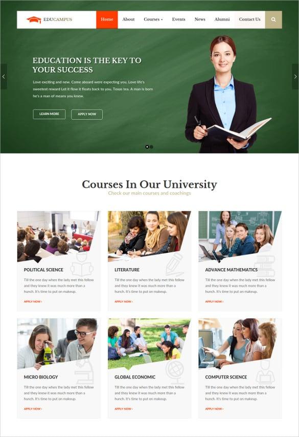university wordpress template