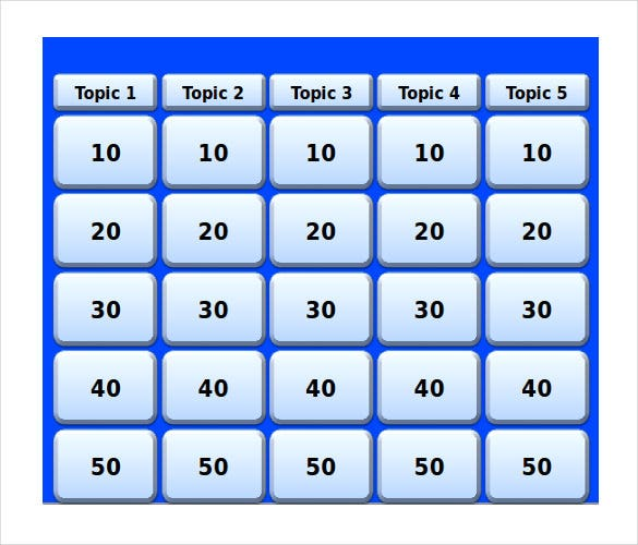 Keynote jeopardy template 6 free word pdf ppt for Kids jeopardy template