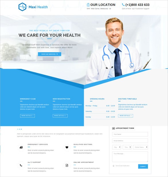 maxi health responsive medical wordpress theme