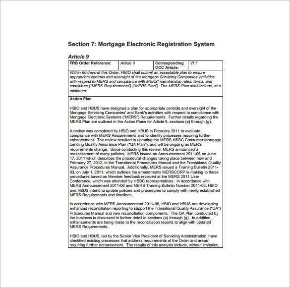 mers quality assurance plan pdf free download