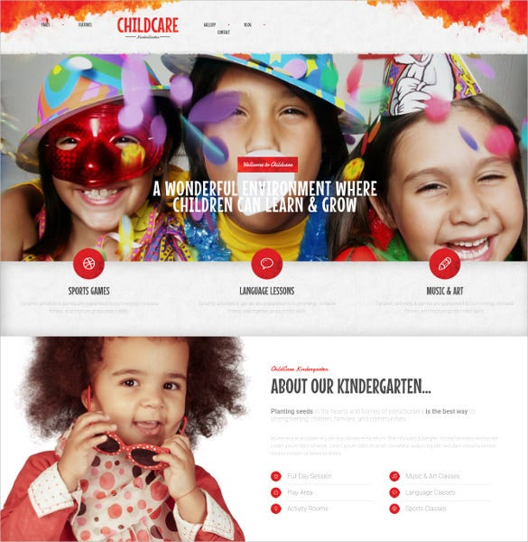 child care children kindergarten wp theme