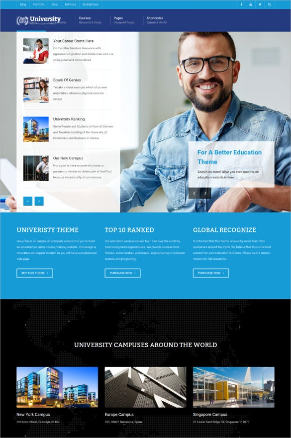 clean university wordpress template