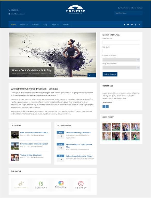 wordpress theme for university website
