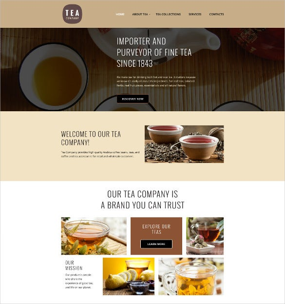 tea company html5 website template