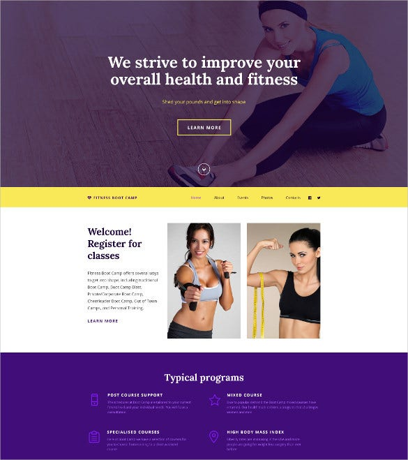 fitness boot camp html5 website template