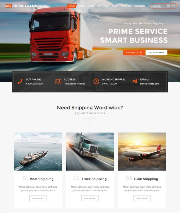 primetrans logistics html5 wordpress theme