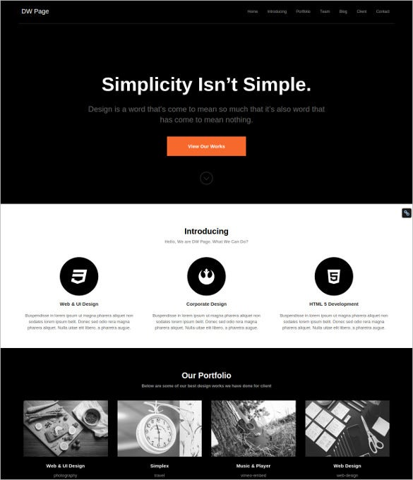 dw one page retro wordpress theme