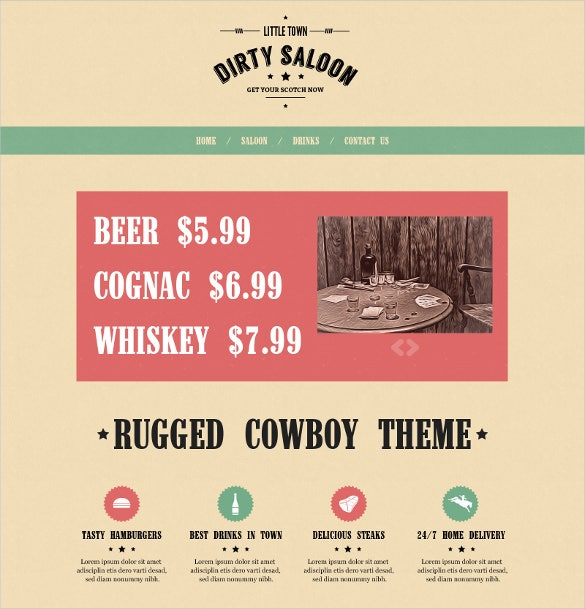 dirty saloon vintage wordpress theme
