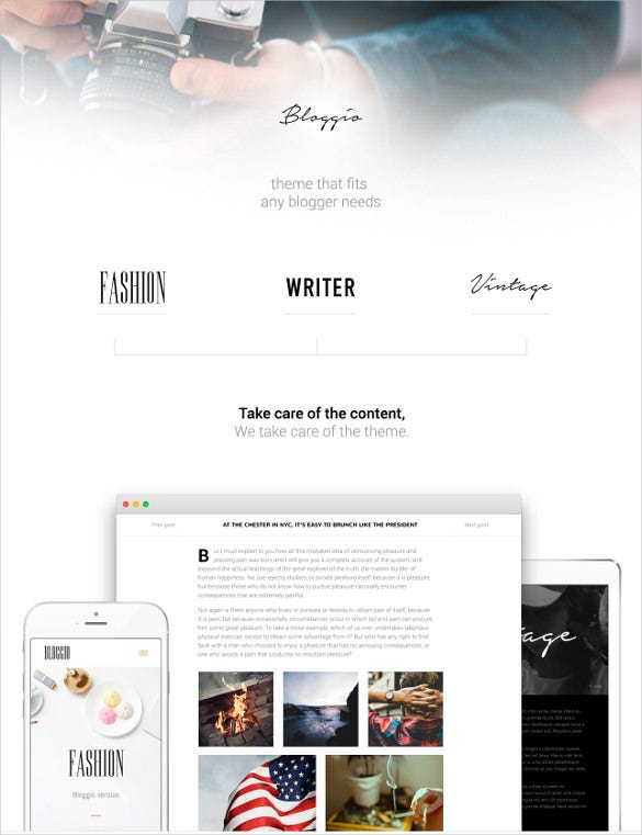blogger and writer wordpress theme