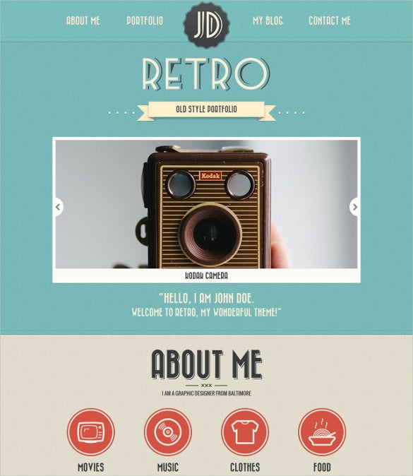 one page vintage wordpress theme