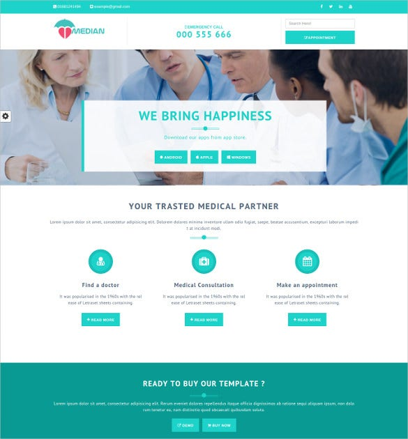 median healthcare medical clinic html5 template