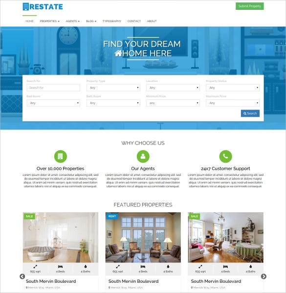 restate a real estate html5 theme
