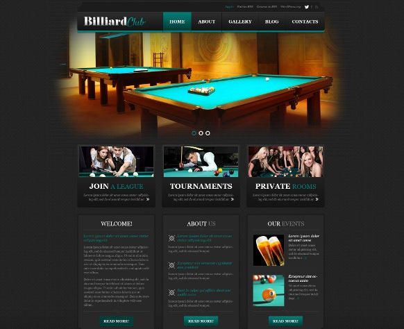 word press theme for biliards sports club