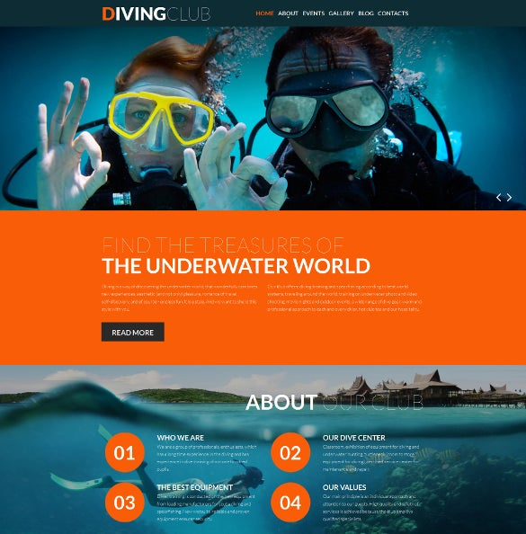 diving responsive moto cms 3 blog template