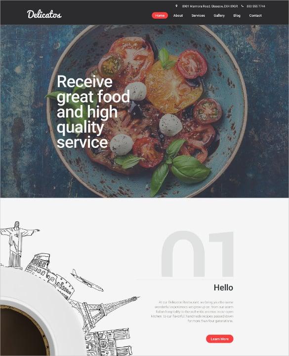 italian restaurant responsive moto cms 3 blog template