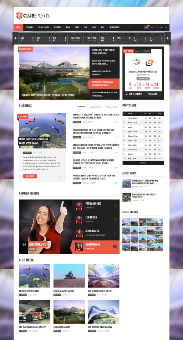 word press theme for sports club