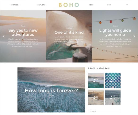 boho a responsive wordpress blog theme