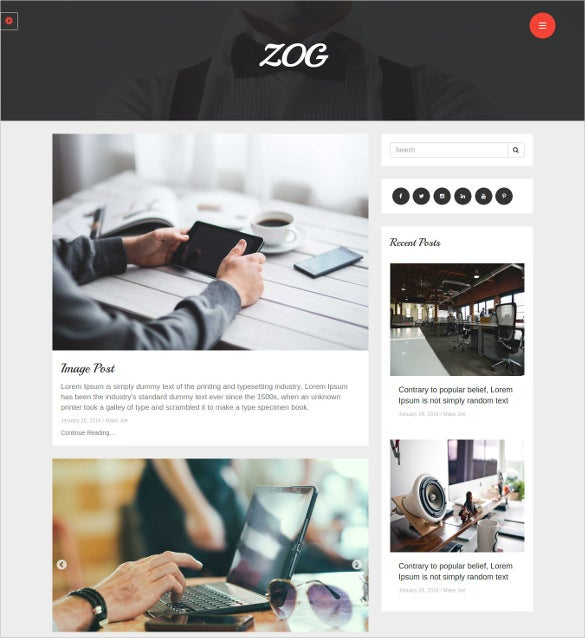 zog – responsive blog theme