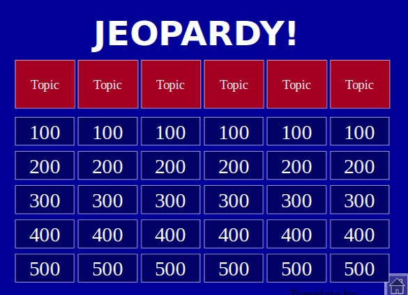 Jeopardy Powerpoint Templates  Free Sample Example Format
