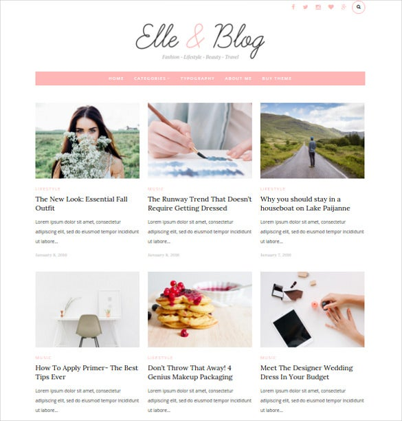 elle blog wordpress blog theme