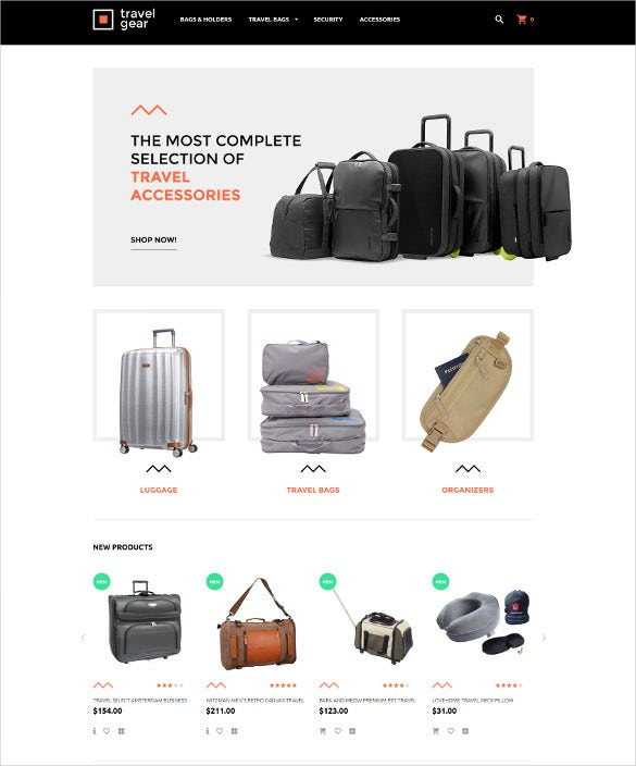 travel gear magento ecommerce theme