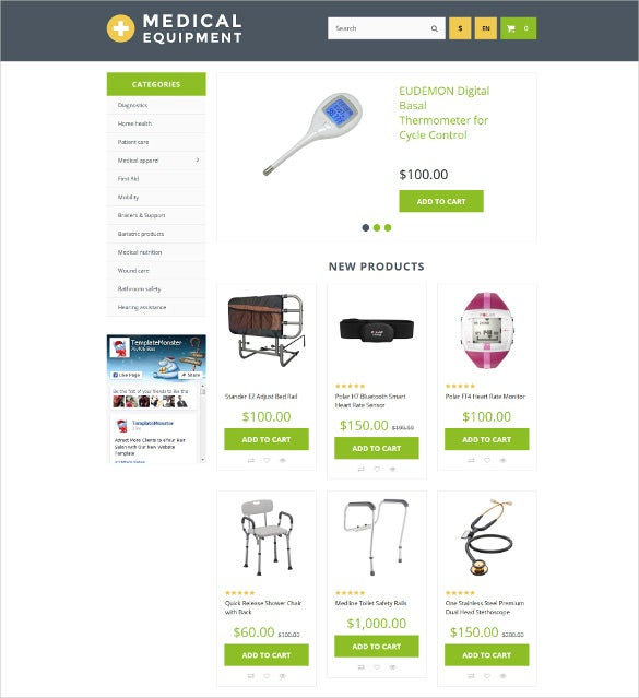 medical equipment opencart ecommerce template