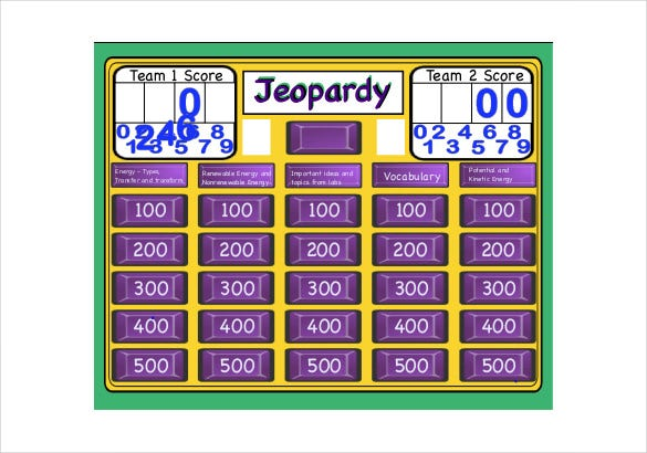 Blank Jeopardy Templates  Free Sample Example Format Download