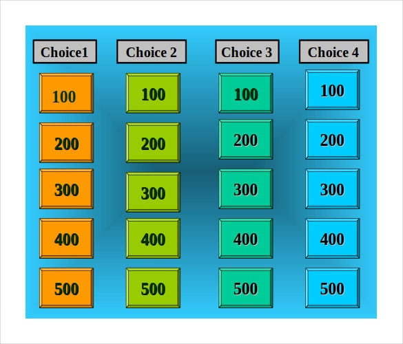 7 blank jeopardy templates free sample example format for Jeopardy template powerpoint 2007