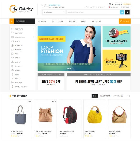 catchy multipurpose opencart ecommerce theme