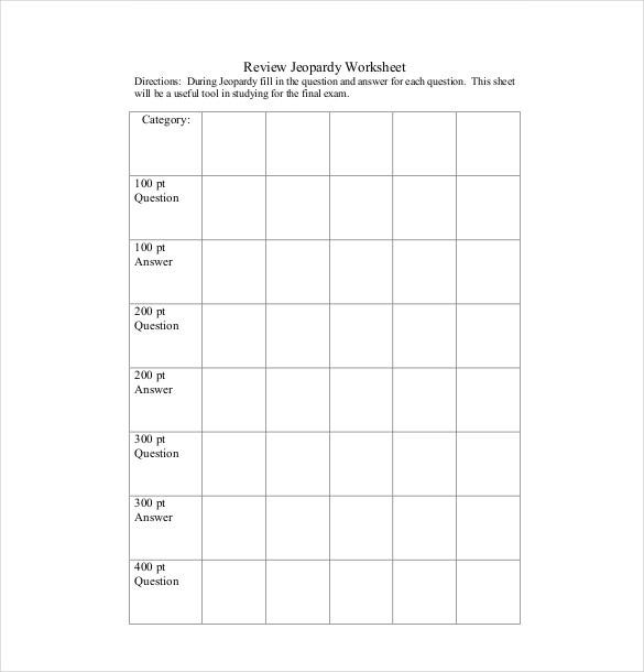 7 Blank Jeopardy Templates Free Sample Example Format – Blank Jeopardy Template