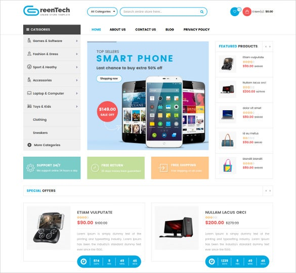 greentech shopping responsive opencart ecommerce theme