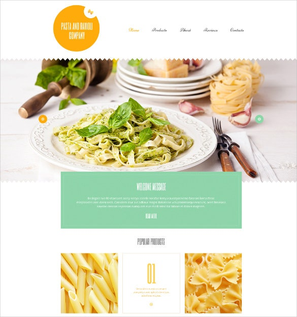 pasta and ravioli company wordpress orange theme