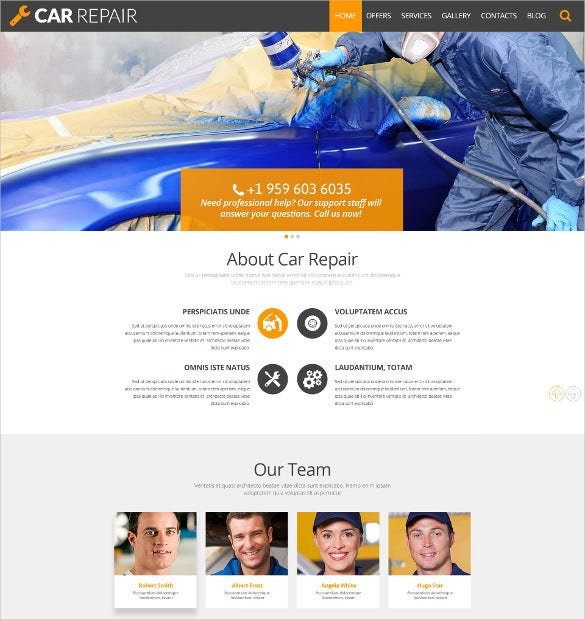 car repair wordpress orange theme