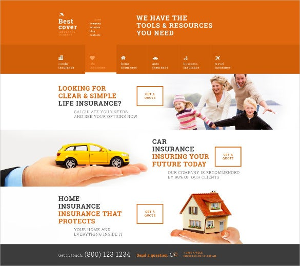 online insurance services orange wordpress theme