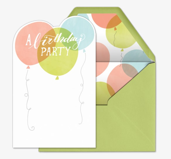 green birthday party invitation