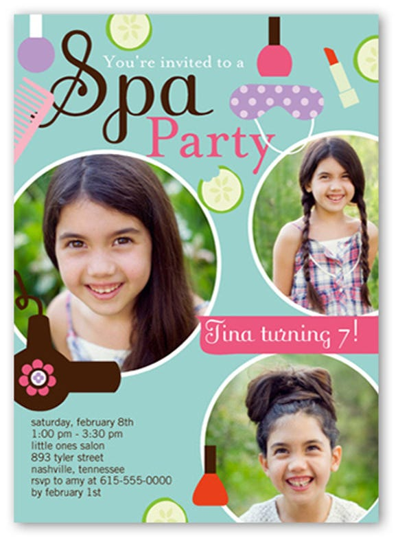 spa party birthday invitation for girl