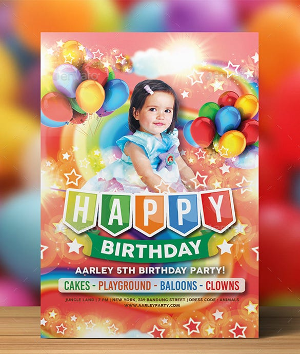 colorful birthday party invitation for kids